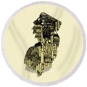 New Jersey Typographic Map 4d Round Beach Towel