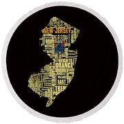 New Jersey Typographic Map 4g Round Beach Towel