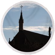 New Mexican Church Round Beach Towel