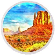 New Mexico Beautiful Desert - Pa Round Beach Towel