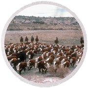 New Mexico Cattle Drive Round Beach Towel
