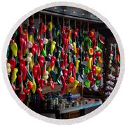New Mexico Hanging Peppers Round Beach Towel