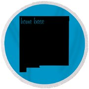 New Mexico Is Home Base Black Round Beach Towel