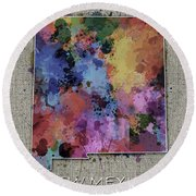 New Mexico Map Color Splatter 5 Round Beach Towel