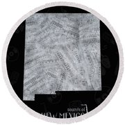 New Mexico Map Music Notes 2 Round Beach Towel