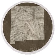 New Mexico Map Music Notes 3 Round Beach Towel