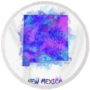 New Mexico Map Watercolor 2 Round Beach Towel