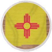 New Mexico Rustic Map On Wood Round Beach Towel