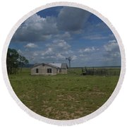 New Mexico Wind Mill Round Beach Towel