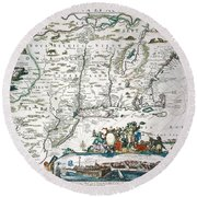 New Netherland Map Round Beach Towel