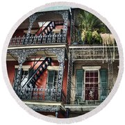 New Orleans Balconies No. 4 Round Beach Towel