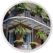 New Orleans Balcony Round Beach Towel