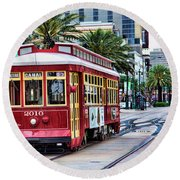 New Orleans Canal Streetcars  Round Beach Towel