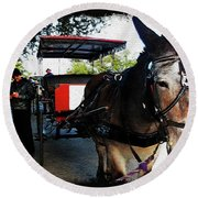 New Orleans Carriage Ride Round Beach Towel