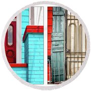 New Orleans Doorways Diptych One Round Beach Towel
