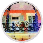 New Orleans French Quarter Balcony Round Beach Towel