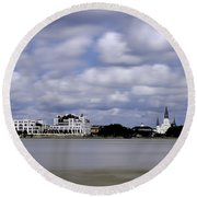 New Orleans From Algiers Point - In Color Round Beach Towel