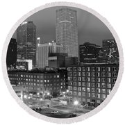 New Orleans In Black And Night Round Beach Towel