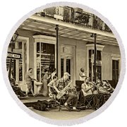 New Orleans Jazz 2 - Sepia Round Beach Towel