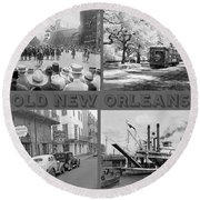 New Orleans Nostalgia Round Beach Towel
