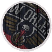 New Orleans Pelicans Wood Fence Round Beach Towel