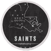 New Orleans Saints Art - Nfl Football Wall Print Round Beach Towel by Damon Gray