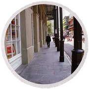 New Orleans Sidewalk 2004 Round Beach Towel