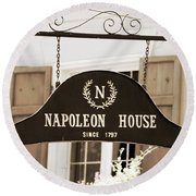 New Orleans Sign - Napoleon House - Sepia Round Beach Towel