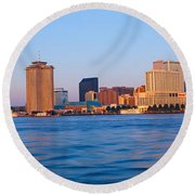 New Orleans Skyline From Algiers Point Round Beach Towel