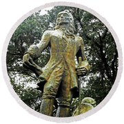 New Orleans Statues 1 Round Beach Towel