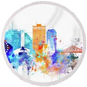 New Orleans Watercolor Skyline Round Beach Towel