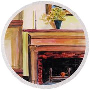 New Painting Over The Mantel Round Beach Towel