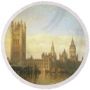 New Palace Of Westminster From The River Thames Round Beach Towel by David Roberts