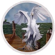 New Point Egret Round Beach Towel
