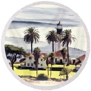 New Point Loma Lighthouse Round Beach Towel