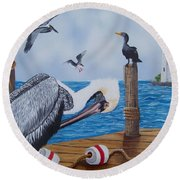 New Point Pelican Round Beach Towel