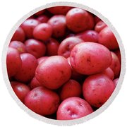 New Red Potatoes For Sale In A Market Round Beach Towel