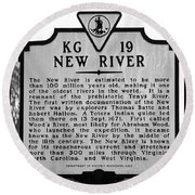 New River Historical Marker Round Beach Towel