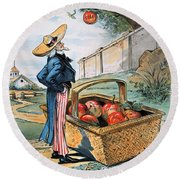New Territories Cartoon Round Beach Towel