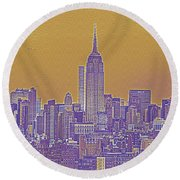 New Tork City Ny Travel Poster 5 Round Beach Towel