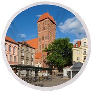New Town Square In Torun Round Beach Towel