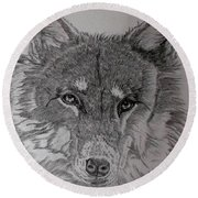 Wolf. Round Beach Towel by Cynthia Adams