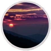Smoky Mountain Sunset Round Beach Towel
