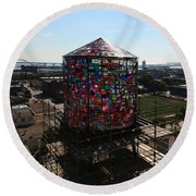Stained Glass Water Tower In Milwaukee Round Beach Towel