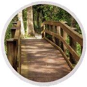 New Wood Bridge Park Trail Round Beach Towel