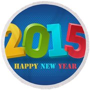 New Year 2015 Round Beach Towel