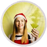 New Year Christmas Party Round Beach Towel