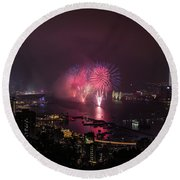 New Year's Eve Fireworks  Round Beach Towel