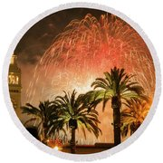 New Years Fireworks Finale San Francisco Round Beach Towel