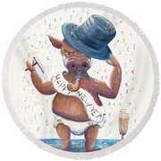 New Years Hog Round Beach Towel